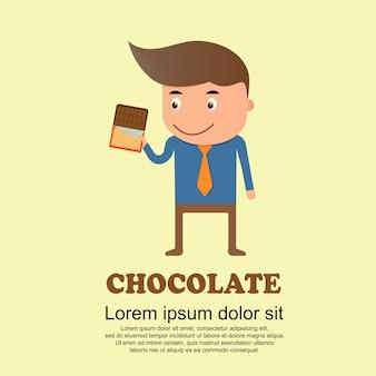 Conjunto de bonito dos desenhos animados, homem e barra de chocolate