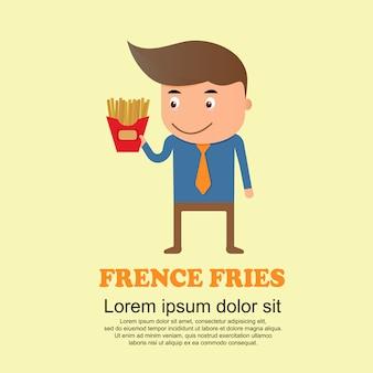 Conjunto de bonito dos desenhos animados, homem e batatas fritas
