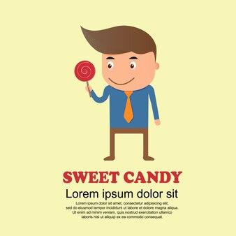 Conjunto de bonito dos desenhos animados, homem e doce doce