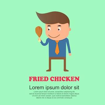 Conjunto de bonito dos desenhos animados, homem e frango frito
