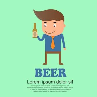 Conjunto de bonito dos desenhos animados, homem e garrafa de cerveja