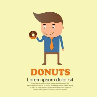 Conjunto de bonito dos desenhos animados, homem e grandes donuts