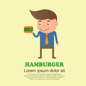 Conjunto de bonito dos desenhos animados, homem e hambúrguer