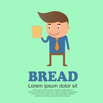 Conjunto de bonito dos desenhos animados, homem e pão