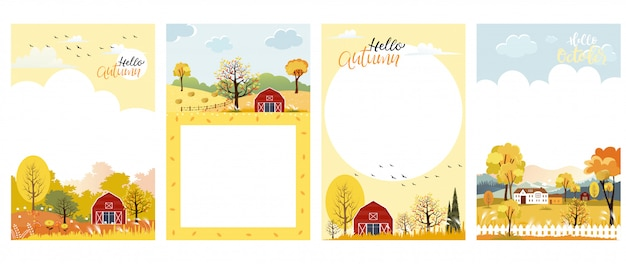 Conjunto de bonito dos desenhos animados outono paisagem fazenda fild com espaço de cópia