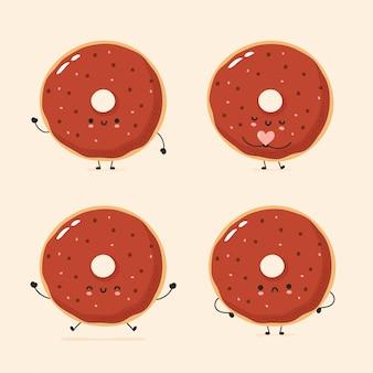 Conjunto de bonito feliz e triste donut