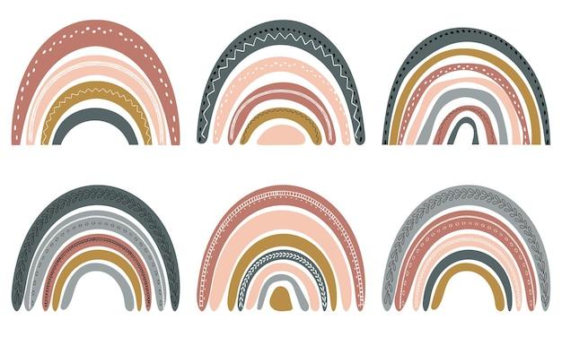 Conjunto de bonitos arco-íris em estilo escandinavo. aquarela do arco-íris isolado em um fundo branco. cores pastel. arte moderna.