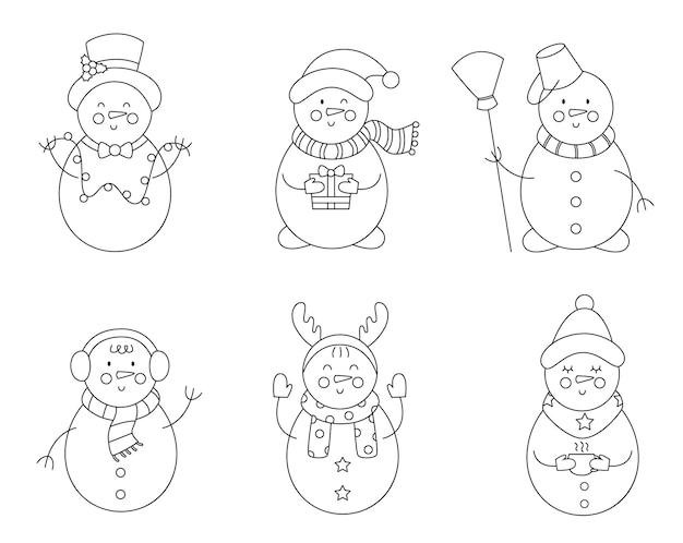 Conjunto de bonitos bonecos de neve preto e brancos. página para colorir para crianças.