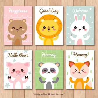 Conjunto de bonitos cartões de animais com mensagens