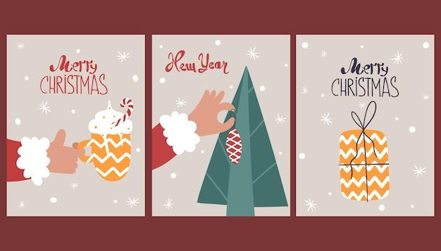 Conjunto de bonitos cartões de feliz ano novo.