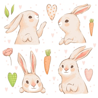 Conjunto de bonitos coelhinhos da páscoa com cenouras e corações. imitação de aquarela artesanal. isolado em um fundo branco.