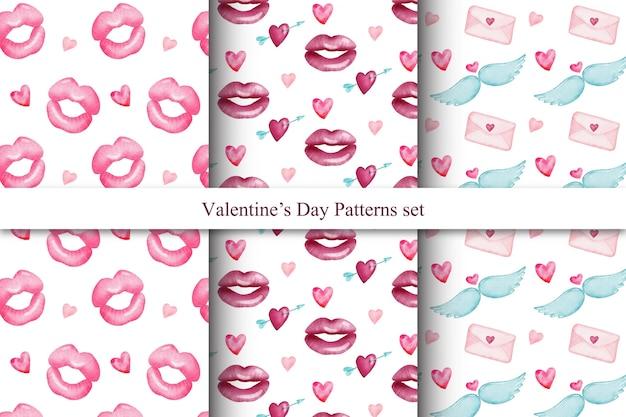 Conjunto de bonitos padrões sem emenda de dia dos namorados em aquarela