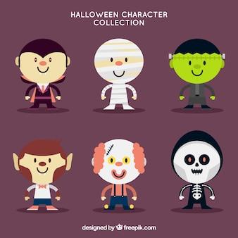 Conjunto de bonitos personagens de halloween no design plano