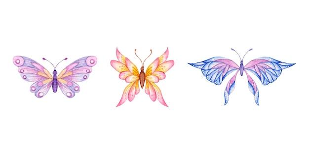 Conjunto de borboleta aquarela desenhada à mão