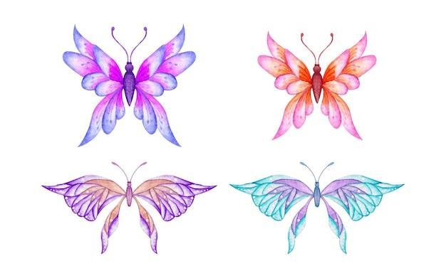 Conjunto de borboleta aquarela pintada à mão Vetor Premium