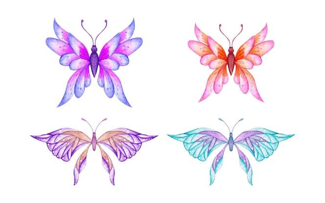 Conjunto de borboleta aquarela pintada à mão