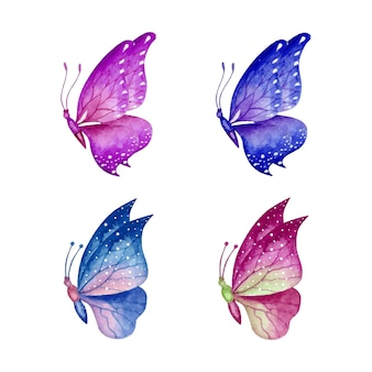 Conjunto de borboleta em aquarela linda e adorável desenhada à mão