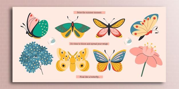 Conjunto de borboletas brilhantes de verão com flores em um estilo simples
