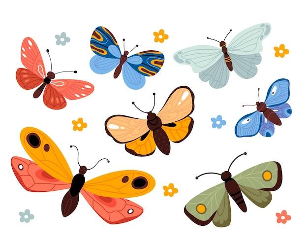 Conjunto de borboletas coloridas.
