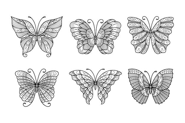 Conjunto de borboletas de arte de linha, borboletas de ilustração monocromática