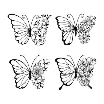 Conjunto de borboletas de arte de linha de decoração
