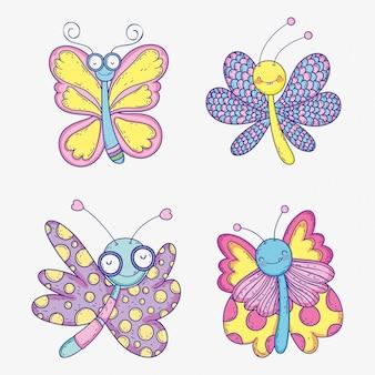 Conjunto de borboletas de borboletas insetos animais