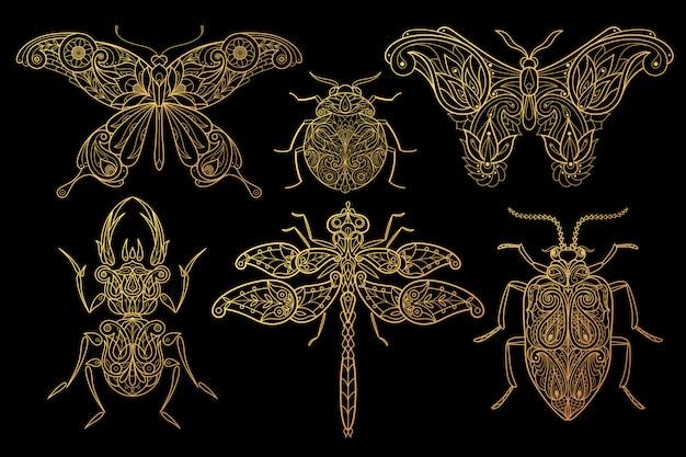 Conjunto de borboletas de insetos, libélulas, besouros