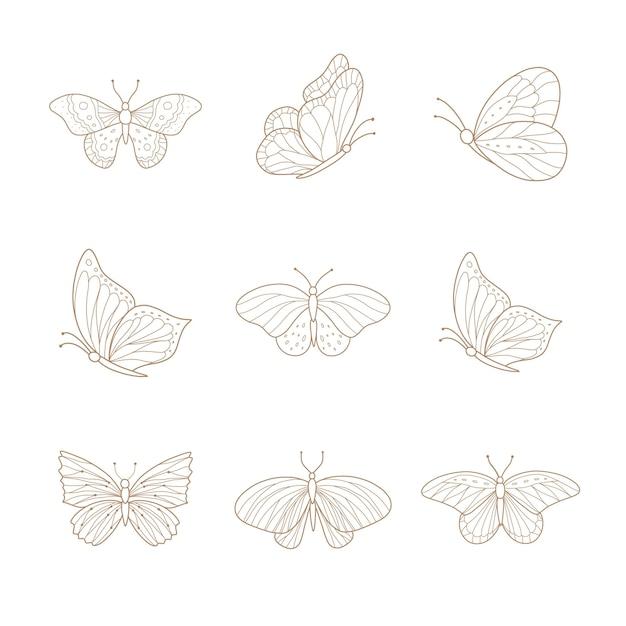 Conjunto de borboletas desenhadas à mão.