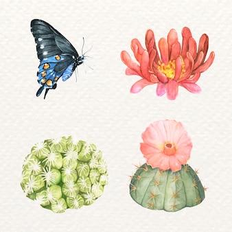 Conjunto de borboletas e cactos desenhados à mão
