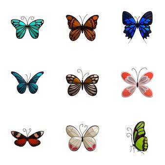 Conjunto de borboletas, estilo cartoon