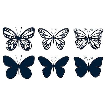 Conjunto de borboletas isoladas em fundo branco em formato vetorial muito fácil de editar