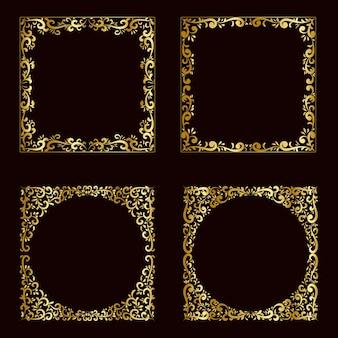 Conjunto de borda com moldura dourada de luxo