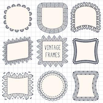 Conjunto de borda de linha vetorial desenhado mão étnica e elemento de design de rabisco de hipster