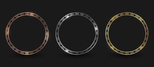 Conjunto de borda de moldura circular de bronze, prata e ouro de luxo