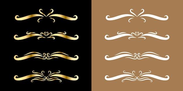 Conjunto de borda de ornamento dourado estilo vintage de florescer