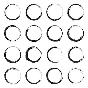 Conjunto de borda de quadros de círculos de grunge