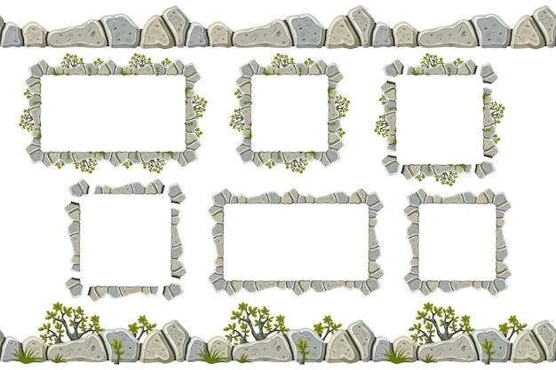 Conjunto de borda de rocha cinza velha, quadros com grama.