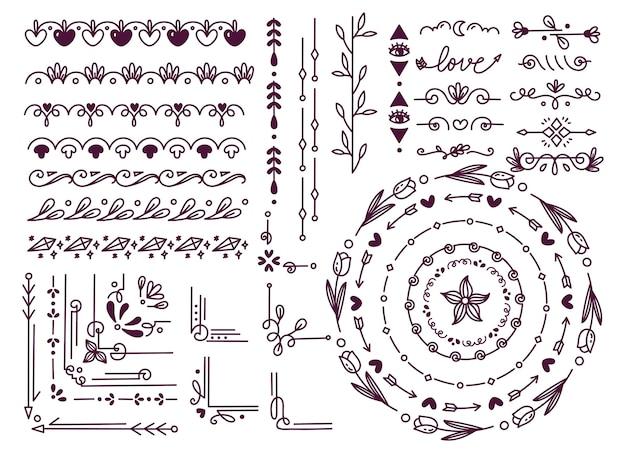 Conjunto de borda desenhada à mão floral