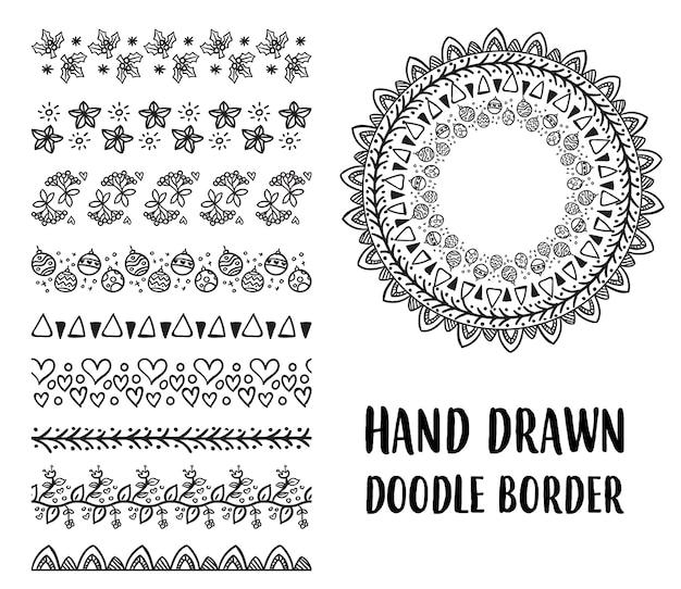 Conjunto de borda desenhada mão do doodle