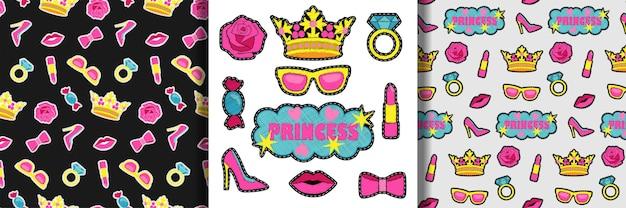 Conjunto de bordado de princesa e padrões sem costura coleção de bordado para estampas de camisetas têxteis