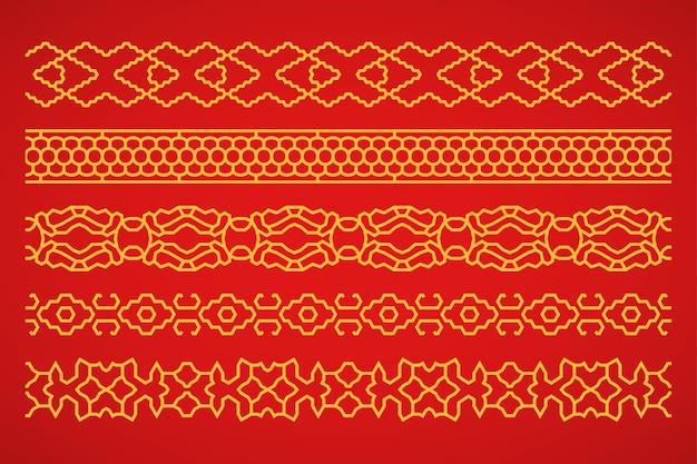 Conjunto de bordas chinesas e japonesas
