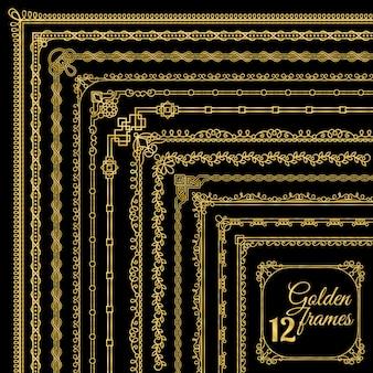 Conjunto de bordas de canto vintage dourado