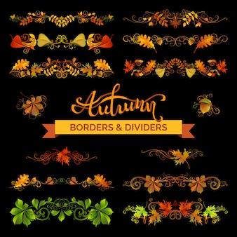 Conjunto de bordas de folhas de outono, decorações de página e divisórias