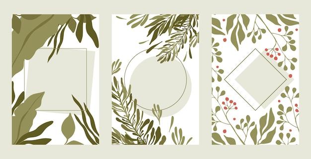 Conjunto de bordas de folhas verdes. ramos verdes de verão, ilustração plana de bordas retangulares de bagas vermelhas com espaço de texto.