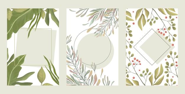 Conjunto de bordas de folhas verdes. ramos verdes de verão, ilustração plana de bordas retangulares de bagas vermelhas.