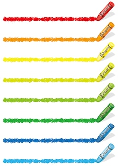 Conjunto de bordas de giz de cera coloridas isoladas em um branco.
