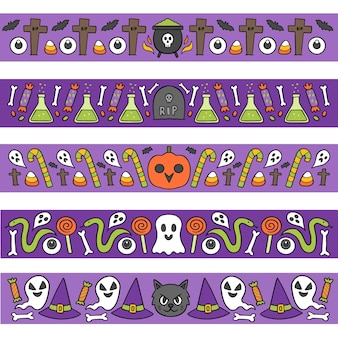 Conjunto de bordas de halloween desenhado à mão