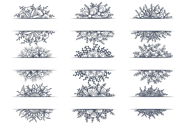 Conjunto de bordas de ornamento decorativo vintage floral e divisórias de canto