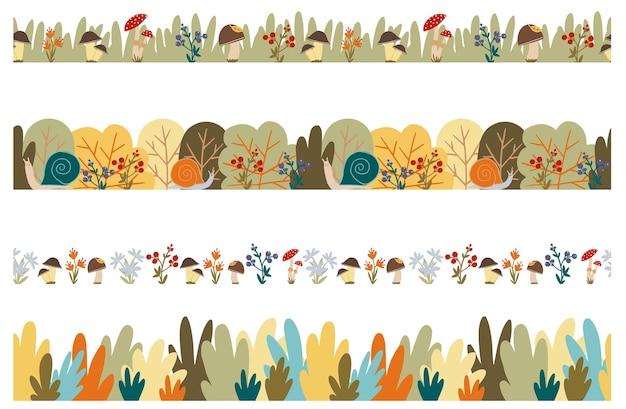 Conjunto de bordas de outono sem costura vetoriais caem, bagas e flores da floresta