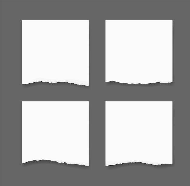 Conjunto de bordas de papel rasgado. fundo de textura de papel rasgado.